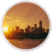 Sunset - New York City Round Beach Towel