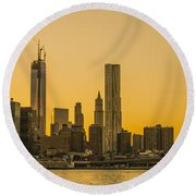 Sunset Ny Round Beach Towel
