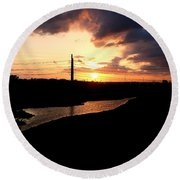 Sunset Of The Trinity River Round Beach Towel