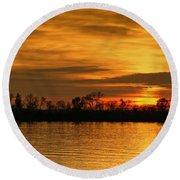 Sunset - Ohio River Round Beach Towel by Sandy Keeton