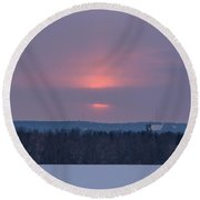 Sunset On A Cloudy Winter Day Round Beach Towel