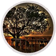 Sunset On A Texas Drought Round Beach Towel