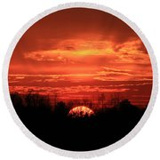 Sunset On Fire  Round Beach Towel