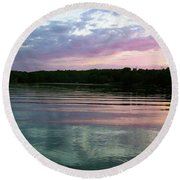 Sunset On Gull Lake Round Beach Towel