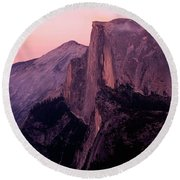 Sunset On Half Dome As Seen Round Beach Towel