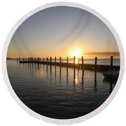 Sunset On Key Largo Round Beach Towel