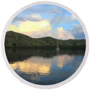 Sunset On Komodo Round Beach Towel