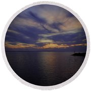 Sunset On Lake Poygan 1 Round Beach Towel