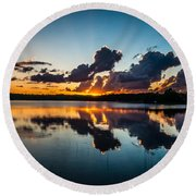 Sunset On Little Pine Lake Round Beach Towel