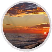 Sunset On Newport Beach Round Beach Towel