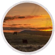 Sunset On Open Range Round Beach Towel