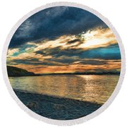 Sunset On Rocky Beach Round Beach Towel