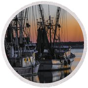 Shem Creek Sunset - Charleston Sc Round Beach Towel