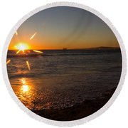 Sunset On Sunset Beach Round Beach Towel