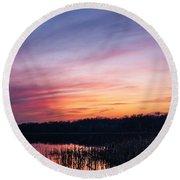Sunset On Teeple Lake Round Beach Towel