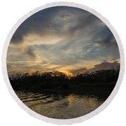 Sunset On The Amazon 1 Round Beach Towel