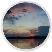 Sunset On The Amazon 3 Round Beach Towel
