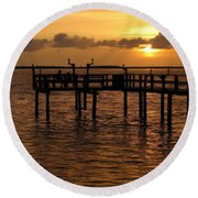 Sunset On The Dock Round Beach Towel