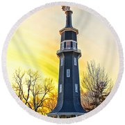 Sunset On The Dwight Windmill Round Beach Towel
