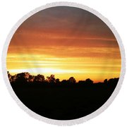 Sunset On The Edge Of Town Round Beach Towel