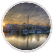 Sunset On The Esifabrik Round Beach Towel by Nathan Wright