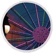 sunset on the Ferris wheel Round Beach Towel