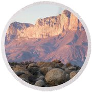 Sunset On The Guadalupe Mountains Round Beach Towel