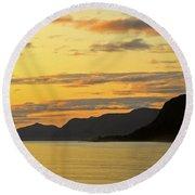 Sunset On The Gulf Of Alaska Round Beach Towel