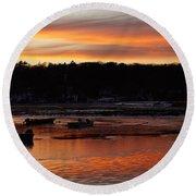 Sunset On The Harbor Round Beach Towel