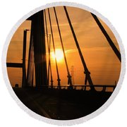 Sunset On The High Rise Round Beach Towel