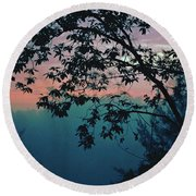 Sunset On The Hill Round Beach Towel