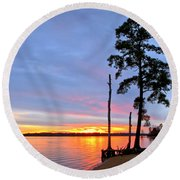 Sunset On The James River Round Beach Towel