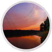 Sunset On The Kennebec River Round Beach Towel