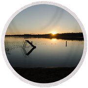 Sunset On The Lake 3 Round Beach Towel