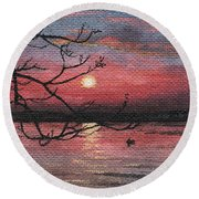Sunset On The Lake Round Beach Towel