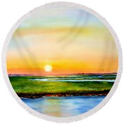 Sunset On The Marsh Round Beach Towel