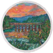 Sunset On The New River Round Beach Towel by Kendall Kessler