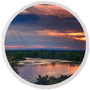 Sunset On The Payette  River Round Beach Towel by Robert Bales