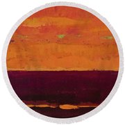 Sunset On The Pier Round Beach Towel