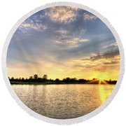 Sunset On The Pond Round Beach Towel