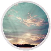 Sunset On The River In The Peruvian Amazon Jungle Round Beach Towel