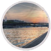 Sunset On The Seine Round Beach Towel