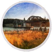 Sunset On The Siuslaw River Round Beach Towel