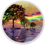 Sunset On Trees And Ocean Round Beach Towel