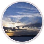 Sunset On Uyuni Salt Flats Round Beach Towel