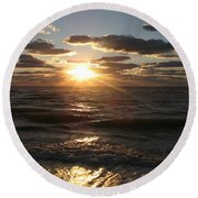 Sunset On Venice Beach  Round Beach Towel