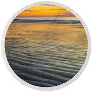 Sunset On Wet Sandy Beach Seascape Fine Art Photography Print  Round Beach Towel