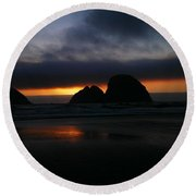 Sunset Oregon Coast Round Beach Towel