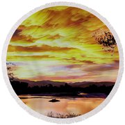 Sunset Over A Country Pond Round Beach Towel