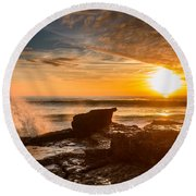 Sunset Over A Rough Sea I Round Beach Towel